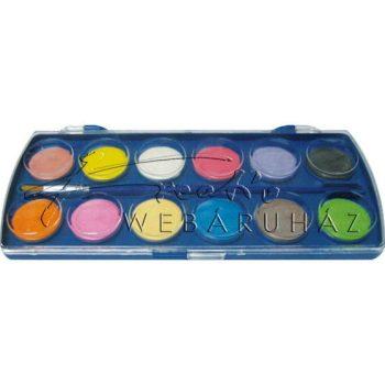 Vízfesték készlet ecsettel, 12 darabos, 24 mm gombos - iskolai vízfesték készlet