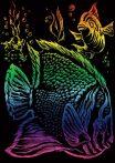 Képkarcoló készlet karctűvel - 13x18 cm - Szivárványos - Trópusi hal