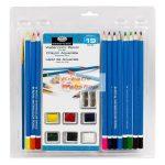Akvarell ceruza- és festékkészlet ecsettel, hegyezővel és akvarell tömbbel - Kezdő akvarellkészlet áttetsző csomagolásban