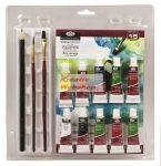 Tubusos akvarell készlet ecsetekkel és akvarell tömbbel - Kezdő festőkészlet áttetsző csomagolásban