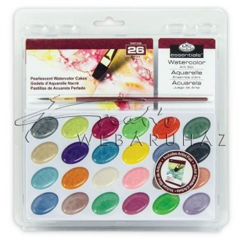 Gyöngyházfényű akvarell festékkészlet ecsettel és akvarell tömbbel - Gombos akvarellkészlet áttetsző