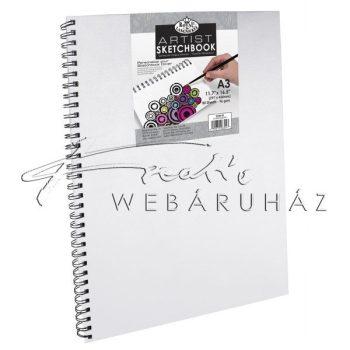 Vázlattömb, személyre szabható, fehér vászonkötéses spirálos - Royal SketchBook A3