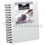 Vázlattömb, személyre szabható, fehér vászonkötéses, spirálos vázlatkönyv - Royal SketchBook A5