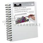 Vázlattömb, személyre szabható, fehér vászonkötéses, spirálos vázlatkönyv - Royal SketchBook A6