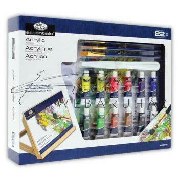 Közepes akril festőkészlet asztali festőállvánnyal - Royal Acryl 22 részes szett