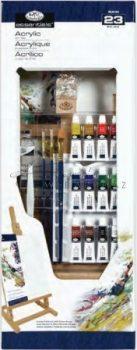 Óriás akril művészkészlet, nagy asztali álló festőállvánnyal - Royal Acrylic 23 részes szett, 25x66cm
