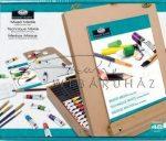 Óriás akril, olaj és akvarell művészkészlet, dobozos asztali festőállvánnyal - Royal Mixed Media 45 részes szett, 25x66cm