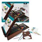 Óriás akril, olaj és akvarell művészkészlet, dobozos asztali festőállvánnyal - Royal Mixed Media 102 részes szett, 40x30x16 cm
