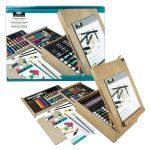 XL akril, olaj és akvarell művészkészlet, dobozos asztali festőállvánnyal, natúr - Royal Mixed Media 150 részes szett, 46x34x15 cm
