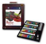 Óriás akril, olaj és akvarell művészkészlet, asztali festődobozzal - Royal Mixed Media 102 részes szett, 43x37x10 cm