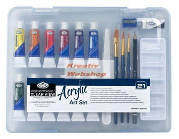 Akrilfestő készlet, közepes  - Divatos áttetsző táskában - Royal kezdő készlet akrilfestékkel