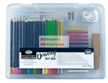 Rajzkészlet 35db-os  - Divatos áttetsző táskában - Royal kezdő ceruza készlet