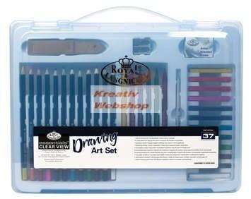 Nagy színes művészkészlet  - Divatos áttetsző táskában - ROYAL
