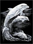 Képkarcoló készlet karctűvel - 20x25 cm - Ezüst - Delfinek