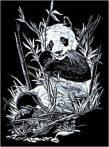 Képkarcoló készlet karctűvel - 20x25 cm - Ezüst - Panda
