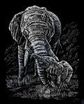 Képkarcoló készlet karctűvel - 20x25 cm - Ezüst - Elefánt