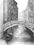 Skiccelő készlet kellékekkel - 23x30 cm - Velencei híd