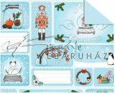 Kartonpapír - Karácsony, Diótörő és Hógömb ajándékkísérő kártya - mintás Karton, 300g, 1 lap