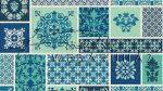 Kartonpapír - Kék csempék minta, Mintás karton 1 lap