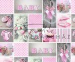 Kartonpapír - Babaváró, rózsaszín, mackós-szíves-babaruhácskás fotómontázs mintás Karton, 1 lap