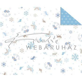 Kartonpapír - Karácsonyi kék, Aprómintás karton, rénszarvas, csengettyű és téli motívumokkal