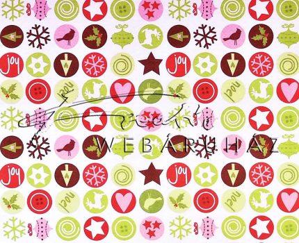 Kartonpapír - Karácsonyi varázslat apró körös mozaik, karácsonyi motívumok piros zöld színben