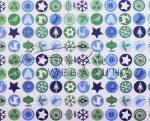 Kartonpapír - Karácsonyi varázslat apró körös mozaik, karácsonyi motívumok kék és zöld