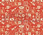 """Kartonpapír - """"Nosztalgia Karácsony"""" Piros-fehér, madárka és koszorú mintás karton"""