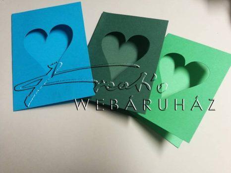 Paszpartu meghívó szív alakú kivágással - 6 db