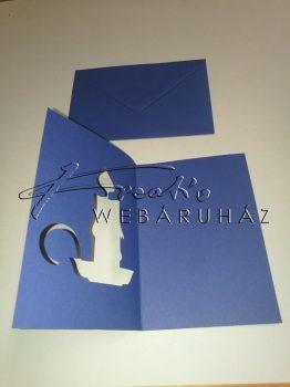 Meghívó készlet - Gyertyás, kék paszpartu borítékkal
