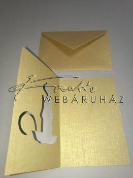 Meghívó készlet - Gyertyás, arany paszpartu borítékkal - 5db