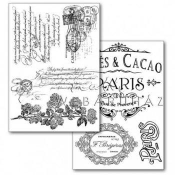 Transzfer papír, 2 ív A4 - Párizs felirat és minta