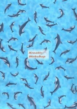 Kartonpapír - Delfin mintás karton, kék