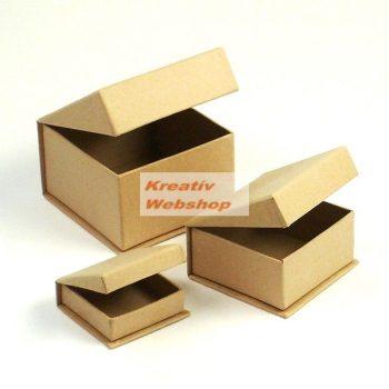 Papírdoboz készlet 3db, négyzetes, fedéllel, ékszeres, natúr papírmasé dobozok
