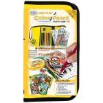 Színezős állatos ajándékkészlet gyerekeknek számokkal, nagy sárga tolltartóban