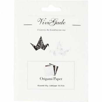 Origami papír - 4 féle Fekete minta