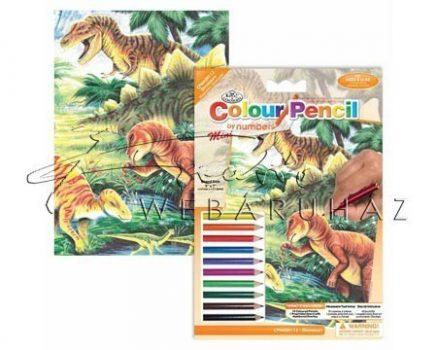 Számozott színező készlet, mini - Dinoszauroszok