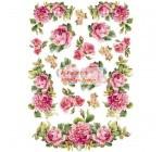 Dekupázs rizspapír A4 csomag - Girland rózsák