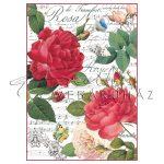 Dekupázs rizspapír A4 - Vörös rózsa és kotta