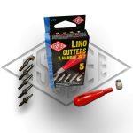 Linómetsző készlet - ESSDEE - fém késbefogóval, 5 késsel