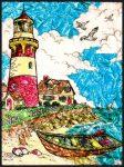 Kreatív hobby - Üvegmatrica kifestő készlet - Világítótorony