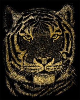 Kreatív hobby - Képkarc készlet - Arany - Bengáli tigris