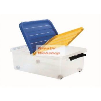 Tároló doboz - Műanyag háztartási tárolódoboz zárható tetővel, 25 literes