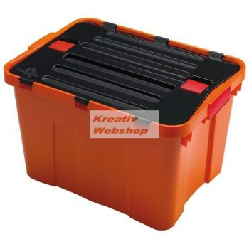 Tároló doboz - Színes műanyag tárolódoboz klipes tetővel, 34-35 literes, narancs vagy türkiz színű