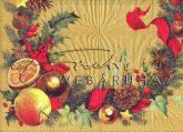 Fenyőág díszekkel, arany háttérrel Szalvéta teljes méretű képpel