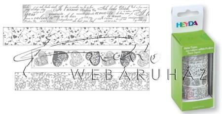 Szívek, esküvői motívumok - 4 tekercs Washi tape öntapadós papír szalag