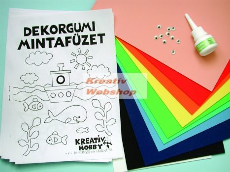 Dekorgumi EXTRA csomag - A4-es méretű színes dekorgumival, ragasztó és kiegészítők -22 db-os készlet
