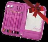 PINK színes ceruzakészlet cipzáras tartóban