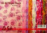 Mintás gyűrött selyempapír - Rózsák, 20 lap, vegyes színű csomag, 58gr., A4