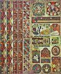 Karácsony és télapó dekor - csíkokkal és sarkokkal, keretezett képekkel